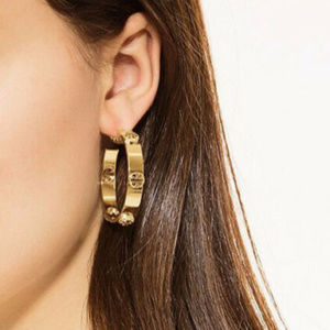 Tory Burch Studded Gold Logo Hoop Drop Earrings